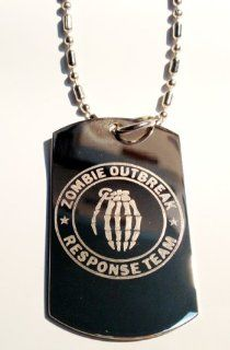 Zombie Outbreak Response Team Zort Z.o.r.t Skull Military Logo Symbols   Military Dog Tag Luggage Tag Key Chain Metal Chain Necklace