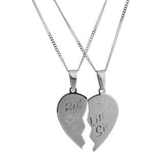 Sisters Pendant Set Big Sis Lil Sis High Polished Stainless Steel Heart Necklace with Rolo Chain Jewelry