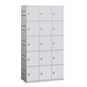 Salsbury Industries 95000 Series 38.25 in. W x 74 in. H x 18 in. D 5 Tier Plastic Lockers Unassembled in Gray 95368GY U