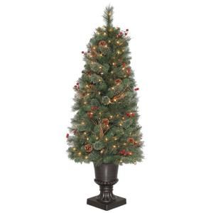 4.5 ft. Paley Pine Potted Artificial Christmas Tree with Clear Lights and Pinecones PALT264PA150CL