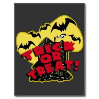 Trick or Treat Haunted House Halloween Art Post Card