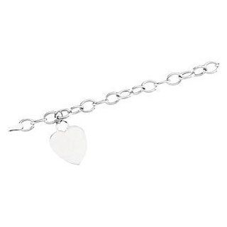 Hollow Link Heart Charm Bracelet 14K White 7.5 Inch Brc270 Jewelry