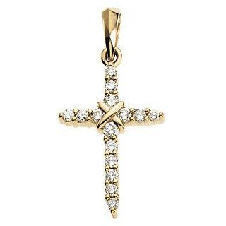 Small 14k Yellow Gold Diamond Cross Pendant (.225 Cttw, GH Color, SI1 Clarity) Jewelry