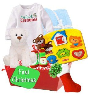 Baby Boutique, Baby's First Christmas Gift Basket, Baby Boy's Gift Basket, Size 0 3 months  Baby