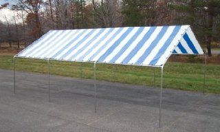 18 Ft. x 30 Ft. Canopy   Heavy 17 Gauge Frame   Blue/White Stripe Top  Outdoor Canopies  Patio, Lawn & Garden