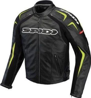 Spidi Sport S.R.L. Track Leather Jacket , Gender Mens/Unisex, Primary Color Black, Size 38, Apparel Material Leather, Distinct Name Black/Green P120 494 48 Automotive