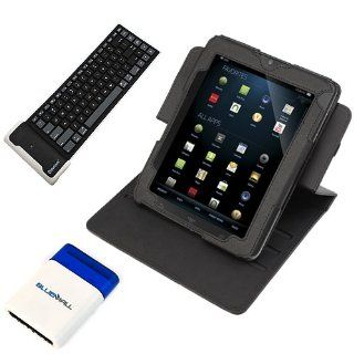 GTMax Black Premium Leather Carrying Cover Case Folio with Built in Stand + Bluetooth Wireless Silicone Keyboard + Mini Brush for Vizio 8 Inch Tablet Computers & Accessories
