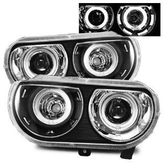Dodge Challenger Black CCFL Dual Halo Projector Headlights (HID Compatible) Automotive