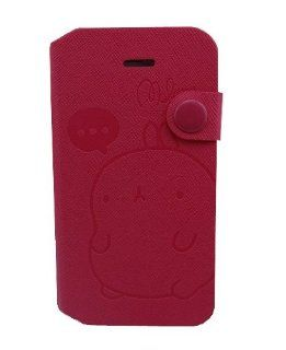 Flying007 Super Lovely Hot Pink Steel Stamp Potato Rabbit PU Leather Flip Wallet Design With Stand And ID/Credit Card Slot Protective Cover for Apple iPhone 4 4G 4S(Randomly Presented Six Pieces Home Button Stickers) Cell Phones & Accessories