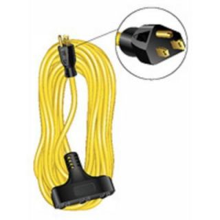 50 ft. 12/3 Outdoor Extension Cord SJTW Triple Tap   Yellow 56956501