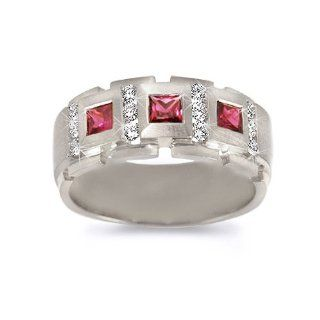 Men's Diamond Ring   Men's Royal Ruby/Diamond Band in 18k White Gold (.45 dia / .75 ruby ct. tw. / G Color / VS1 VS2 Clarity) Jewelry