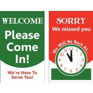 "Accuform Signs MPCM507 Dura Plastic Double Sided ""Be Back"" Clock Sign, Legend ""SORRY WE MISSED YOU WE WILL BE BACK AT (PIC OF CLOCK)/WELCOME PLEASE COME IN WE'RE HERE TO SERVE YOU"", 5"" Width x 8"" Length, Green/Black/Red"