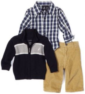 Nautica Sportswear Kids Baby boys Infant 3 Piece Full Zip Sweater Set, Sport Navy, 6/12 Months Clothing