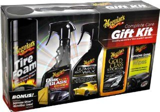 Meguiar's Complete Car Care Kit with Tire Foam Cleaner, Quik Glass Cleaner, Ultimate Quik Wax, Gold Class Car Wash Shampoo and Conditioner, Supreme Shine Hi Gloss Protectant Wipes Plus Bonus Supreme Shine Microfiber Towel Automotive
