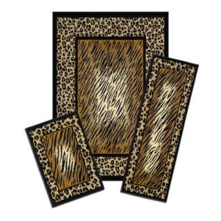 Capri Leopard Skin 3 Piece Set Contains 5 ft. x 7 ft. Area Rug, Matching 22 in. x 59 in. Runner and 22 in. x 31 in. Mat X831/373 J