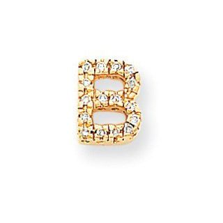 14k Yellow Gold Diamond Initial B Charm Pendant. Carat Wt  0.15ct Bead Charms Jewelry