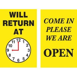"Accuform Signs MPCM501 Dura Plastic Double Sided ""Be Back"" Clock Sign, Legend ""WILL RETURN AT (PIC OF CLOCK)/COME IN PLEASE WE ARE OPEN"", 5"" Width x 8"" Length, White/Black/Red on Yellow Industrial Warning Signs Industrial &a"