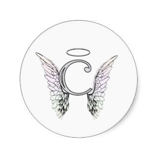 Letter C Initial Monogram with Angel Wings & Halo Round Stickers