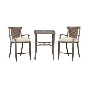 Hampton Bay Bloomfield 3 Piece Woven Patio Balcony Set with Bare Cushions 14H 039 3BAL NF