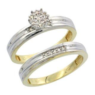 10k Yellow Gold Diamond Engagement Ring Set 2 Piece 0.09 cttw Brilliant Cut, 1/8 inch 3.5mm wide Jewelry