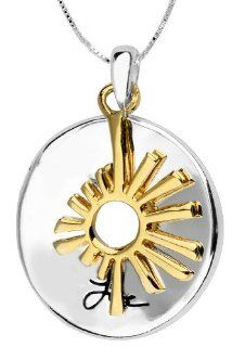 "14k Yellow Gold Plated Sterling Silver ""Love"" Circle with Gold Sunshine ""Two Tone"" Charm Necklace, 18"" Jewelry"