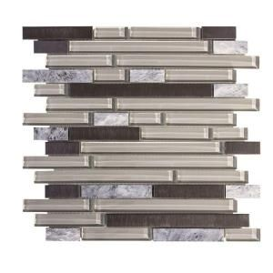 Jeffrey Court I Beam 11.75 in. x 13 in. x 8 mm Glass/Stone/Metal Mosaic Wall Tile 99557