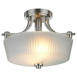 Hampton Bay Sheldon Collection 2 Light Semi Flush Mount Brushed Nickel Finish EC1129SBA