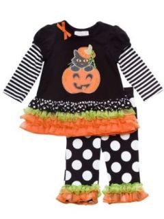 Rare Editions Baby girls Pumpkin Halloween Dress Outfit with Leggings Set Clothing