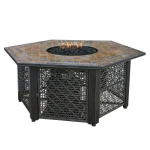 UniFlame Slate Tile Hexagon Propane Gas Fire Pit in Bronze GAD1374SP