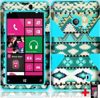 Nokia Lumia 521 MINT GREEN WHITE BLUE AZTEC DESIGN DYNAMIC HYBRID HARD PLASTIC SOFT GEL CELL PHONE CASE + SCREEN PROTECTOR, FROM [TRIPLE8ACCESSORIES] Cell Phones & Accessories