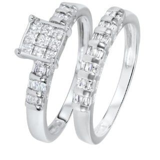 3/4 CT. T.W. Princess, Baguette Cut Diamond Women's Bridal Wedding Ring Set 10K White Gold   Free Gift Box MyTrioRings Jewelry