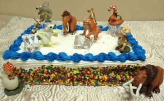 14 Piece Ice Age Cake Topper Set Featuring Ice Blocks, Crash, Eddie, Ellie, Scratte, Manny, Scrat, Sid, Diego, Buck, and Egbert Toys & Games