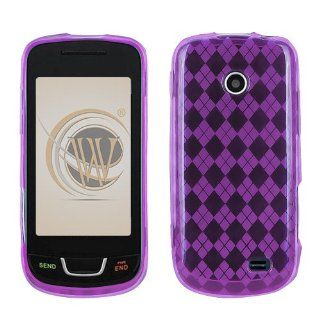 Samsung T528G Candy Skin Cover Case Cell Phone Gel Protector   Purple Argyle Desig Cell Phones & Accessories