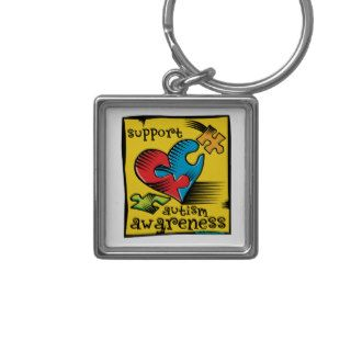 Autism Awareness Heart Puzzle Pieces Keychains