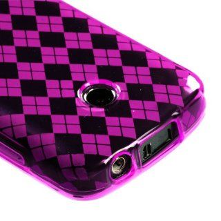 Hot Pink Argyle Pane Candy Skin Cover For SAMSUNG T528G Cell Phones & Accessories