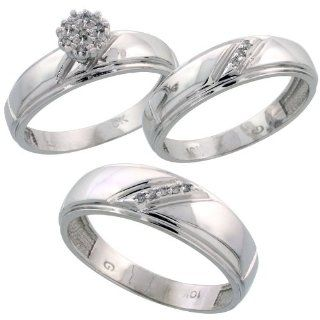 10k White Gold Diamond Trio Engagement Wedding Ring Set for Him and Her 3 piece 7 mm & 5.5 mm wide 0.09 cttw Brilliant Cut, ladies sizes 5   10, mens sizes 8   14 Jewelry