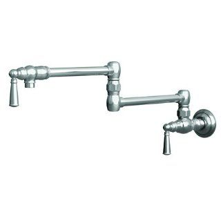 Newport Brass 2470 5503/26 Jacobean Wall Mounted Pot Filler with Dual Handles, Polished Chrome   Pot Filler Kitchen Sink Faucets