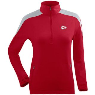 Antigua Womens Kansas City Chiefs Succeed Front Fleece Half Zip Pullover