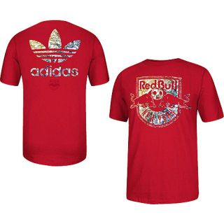 adidas Mens New York Red Bulls Athletic Short Sleeve T Shirt   Size Large, Red