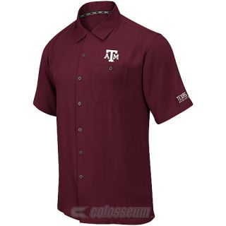 COLOSSEUM Mens Texas A&M Aggies Button Up Camp Shirt   Size Xl, Maroon