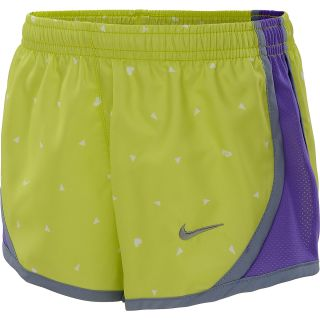 NIKE Girls Tempo Graphic Running Shorts   Size Medium, Volt/silver