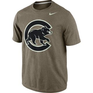 NIKE Mens Chicago Cubs MLB Seasonal Logo Tri Blend Short Sleeve T Shirt   Size
