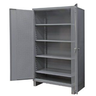"Durham Extra Heavy Duty Welded 12 Gauge Steel Pegboard and Shelf Cabinet, HDCP246078 4S95, 1650 lbs Shelf Capacity, 24"" Length x 60"" Width x 78"" Height, 4 Shelves, Gray Powder Coat Finish Science Lab Safety Storage Cabinets Industrial &"