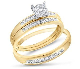 Diamond Engagement Rings Set Wedding Bands Yellow Gold Men Lady .07ct Jewel Tie Jewelry