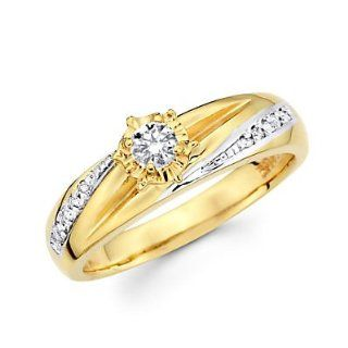 14k Yellow Two Tone Gold Diamond Engagement Ring .19 ct (G H Color, I1 Clarity) Jewelry