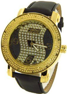 Mens King Master Genuine Diamond Watch Gold Case Black Leather Band w/ 2 Interchangeable Watch Bands #KM 540 King Master Watches