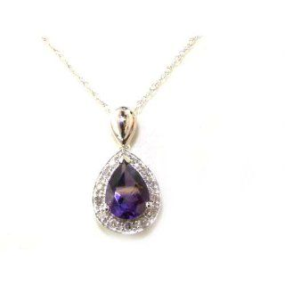 "Solid White 9K Gold Pear cut Amethyst & Diamond Cluster Set Pendant & 18"" Chain Necklace   Ideal Gift for Mum, Daughter, Wife, Sister, Mothers Day, Birthday, Christmas Jewelry"