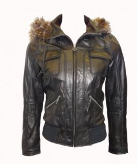 Michael Kors Leather Bomber Jacket with Fur Hood Black S