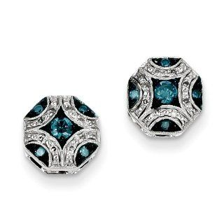 14k White Gold White and Blue Diamond Post Earrings   JewelryWeb Jewelry
