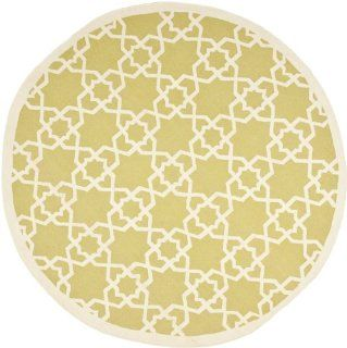 Safavieh Dhurrie Collection DHU548A Handmade Olive and Ivory Wool Round Area Rug, 6 Feet